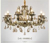 European Brass Color Alloy Lustres Hot Chandelier Crystal Vintage Crystal Chandelier E14 AC LED White High Quality Chandelier
