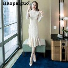 Big Size Winter Autumn Lace Dress Women Long Sleeve Casual Elegant Solid Vintage Midi Vestido Longo Robe