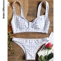 Make Difference Brand Lycra Retro Grid Pattern Bikini Set 2018 Summer Brazilian Swimwear White Two Piece