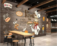 3D wallpaper Hand-painted for Pizza Restaurant