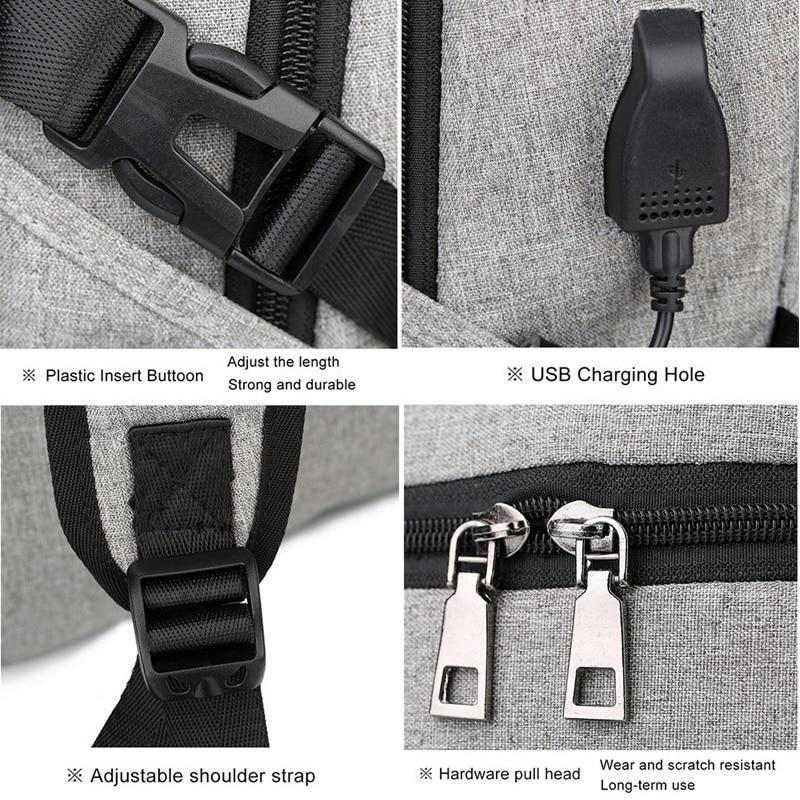 Computer Laptop USB Charging Backpack School Bag Pack Adult Student Bag Business Backpack Male Unisex Waterproof Travel Backpack