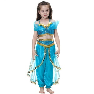 Image 5 - Kids Girls Princess Jasmine Costumes For Children Party Belly Dance Dress Indian Costume Halloween Christmas Party Cosplay 3 10T