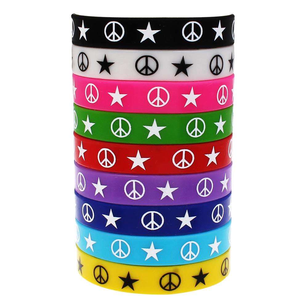 10pc Lot 12mm Silicone Bracelet Star Printed Friend Wristband Bangle For Men Women Rubber Elastic Cuff Bracelets 6 5in In Chain Link