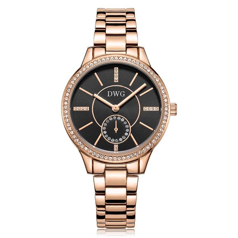 DWG Brand Black Dial 30M Waterproof Rhinestone Quartz Watch Bracelet Watch Zinc Alloy Ladies Wristwatch for