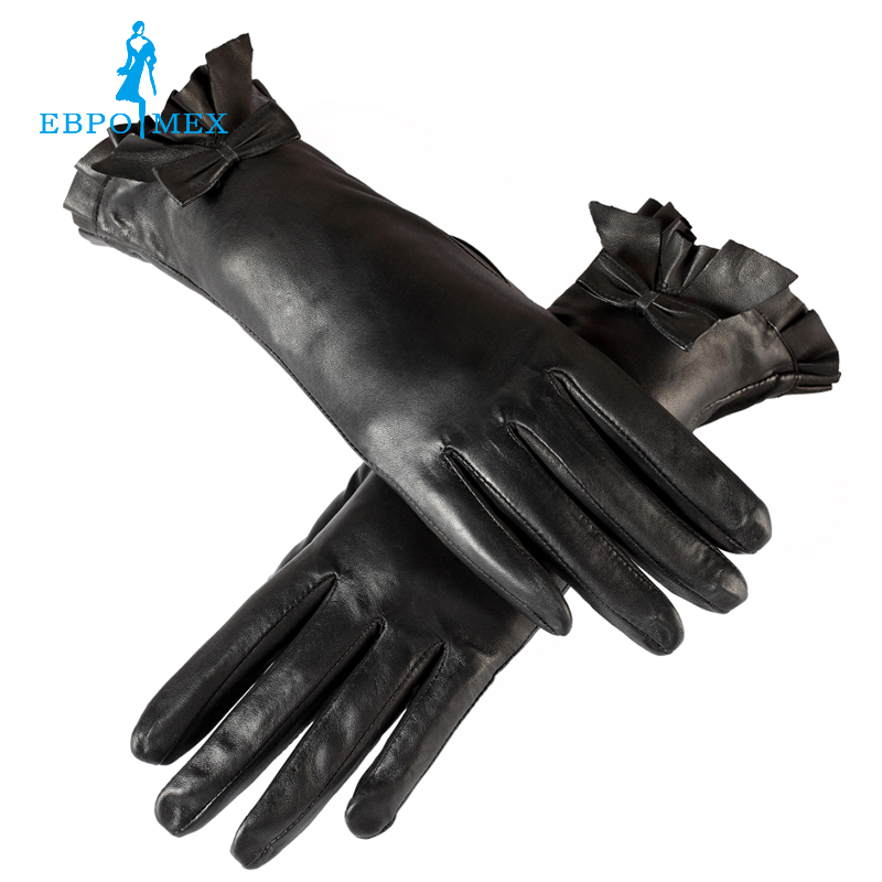 Womens gloves Floral Polyester Genuine Leather Length 25 cm Black leather gloves Ladies gloves Female gloves