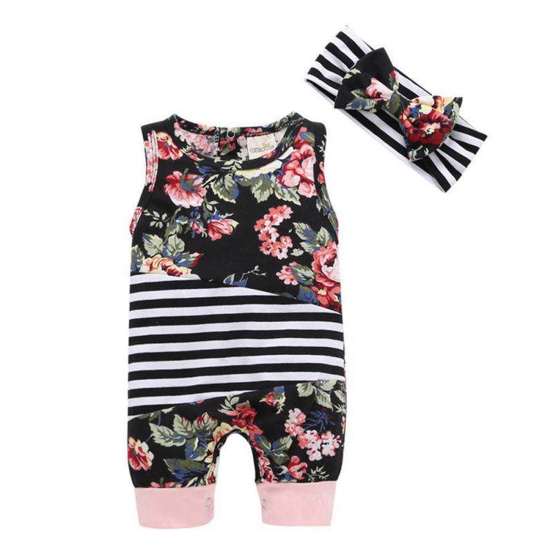 Flower Printed Newborn Infant Baby Boys Girls Clothing Set 2 PCS Sleeveless Romper One-piece Tops Jumpsuit + Headband
