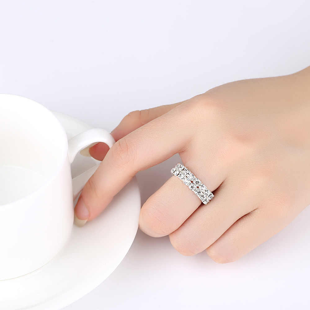 TREAZY ファッションジュエリー 1-4 行ラインストーンクリスタル結婚指輪チャーム弾性リング女性ブライダルウェディングジュエリー