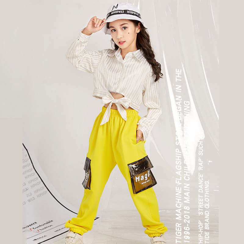 Children's Jazz Dance Costume Shirt Yellow Overalls Popular Street Dance Suit Female Costume DQL082