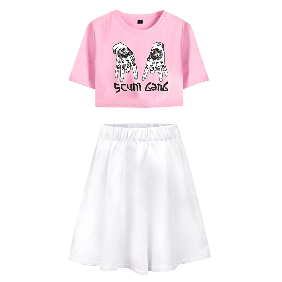 LUCKYFRIDAYF Fashion Summer 6ix9ine Sex Short Pop skirt suit Scunm Gang Fashion Women 39 s Dress Lovely Idol Print Dress Clothing in Women 39 s Sets from Women 39 s Clothing