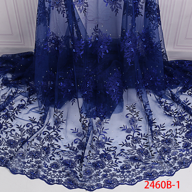 Newest African Tulle Lace Fabric Hot Sale French Net Fabric Lace With Beads Stones Nigerian Embroidery Laces For Dress KS2460B-1