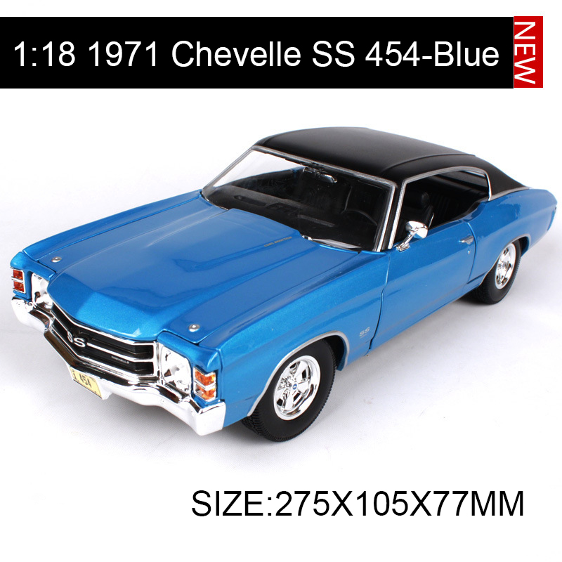 1:18 diecast Car Chevy Chevelle SS 454 Sport Blue Muscle Cars 1:18 Alloy Car Metal Vehicle Collectible Models toys For Gift maisto jeep wrangler rubicon fire engine 1 18 scale alloy model metal diecast car toys high quality collection kids toys gift