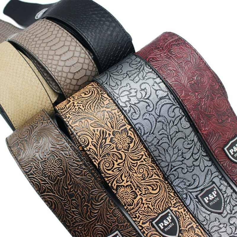 Guitar Parts Widen Electric Guitar Strap Crocodile Snake Skin Embossed PU leather Acoustic Guitar Belt Bass Strap