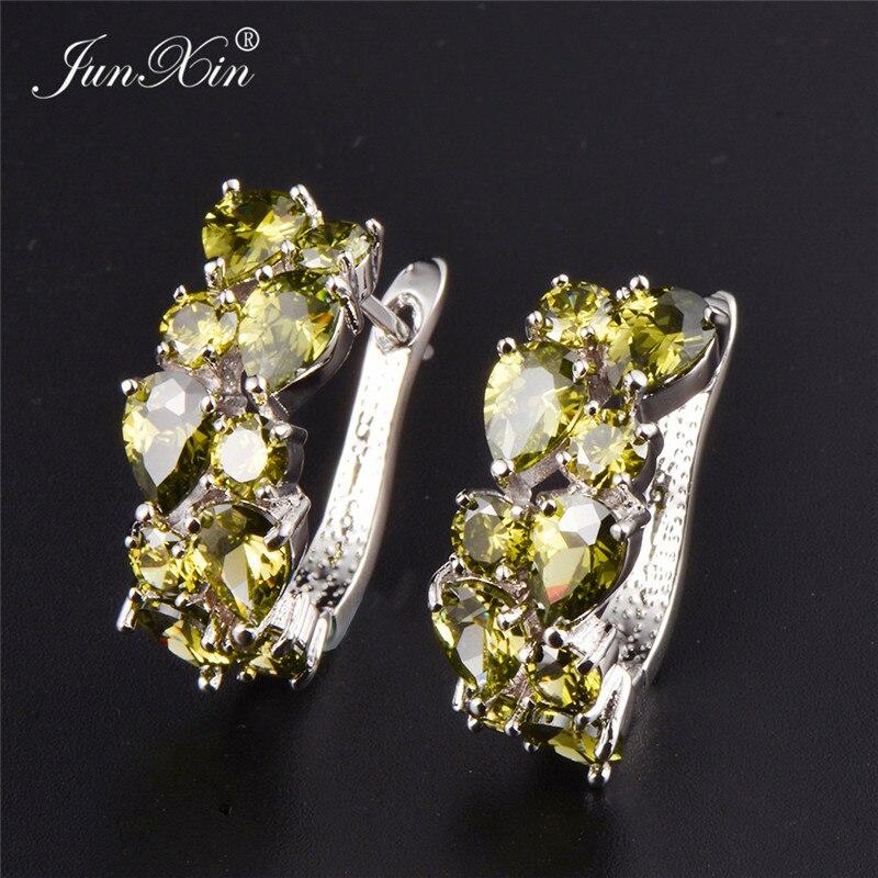 JUNXIN Luxury Female Big Hoop Earrings White Gold Filled White/Green/Blue Earrings Fashion Jewelry Wedding Earrings For Women
