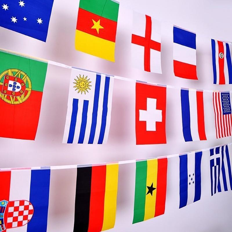 8 Meters National Fabric Flag World 32 Team Country World Banner Games Bar Coffee Store Hanging Small Flag Bunting image