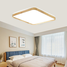 48W Solid Wood Led Ceiling Lamp AC220V Panel Light Remote Control Home Cafe Shopping Mall Decoration