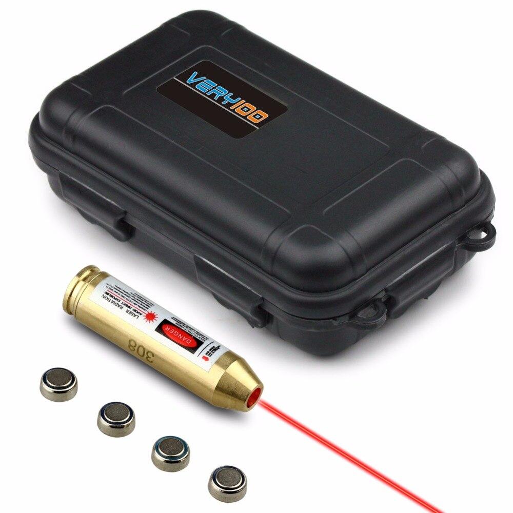 Very100. 308. 243 ottone cartuccia laser rosso bore sight sighter + box waterproof