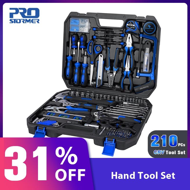 Prostormer 210 pièces outils à main Ensemble Professionnel Combinaison Kit avec Boîte À Outils De Stockage Général Ménage Auto Réparation Mixte Outil