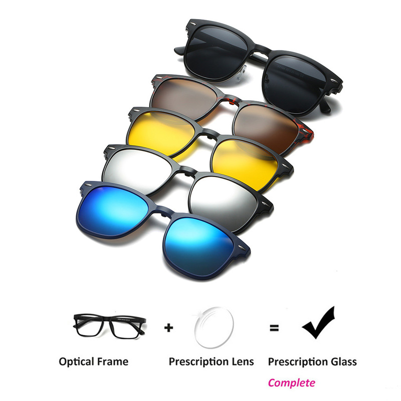Men Prescription Glasses Optical Spectacle Frame Men Women Myopia With Clip On Sunglasses Polarized Magnetic For Male Eyeglasses
