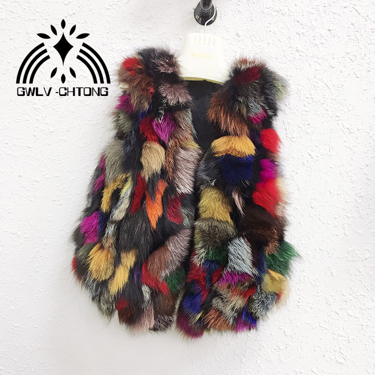Real natural genuine fox fur vest women fashion multi ...