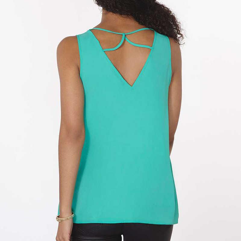 Blusa de chifón sin mangas blusa de moda para mujer camisa cruzada ahuecada de verano talla grande S 6XL ropa informal Blusas femeninas para mujer