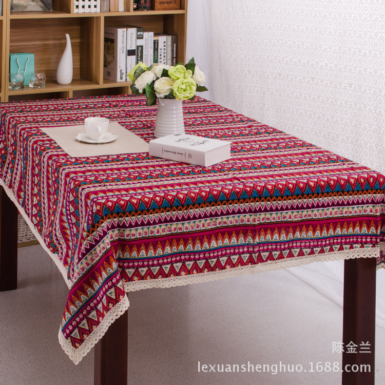 Red Green Blue Geometric Striped Lac Tablecloth Dining Table Cover Print Table  Cloth Cotton Linen For