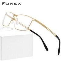 FONEX B Titanium Glasses Frame Men Semi Rimless Prescription Eyeglasses 2019 Ultralight Myopia Optical Frames Screwless Eyewear