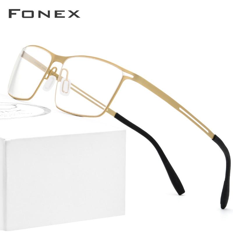 FONEX B Titanium Glasses Frame Men Semi Rimless Prescription Eyeglasses Ultralight Myopia Optical Frame Screwless Eyewear 874-in Men's Eyewear Frames from Apparel Accessories