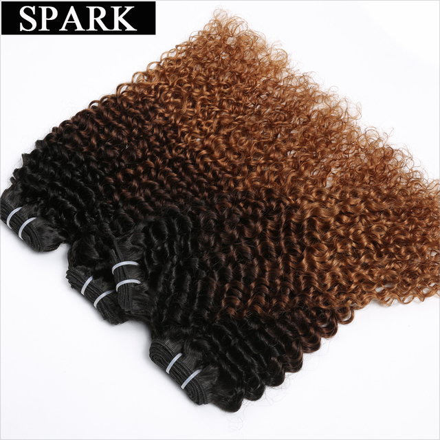 Spark Hair Ombre Brazilian Kinky Curly Hair Weave Bundles 1B/4/30&1B/4/27 Ombre Human Hair 4 Bundles 3 Tone Remy Hair Extensions