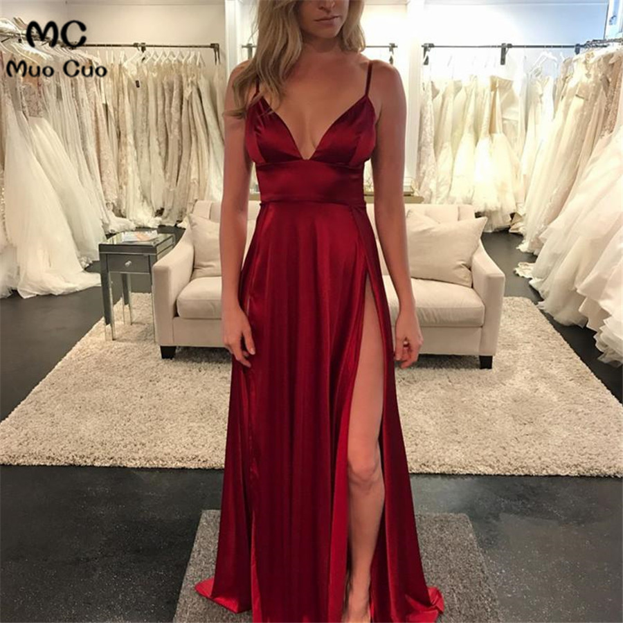 2018 A-line Burgundy Evening Dresses Deep V-neck Split Spaghetti Straps Prom Gowns Shiny Formal Evening Party Dress 100% Real