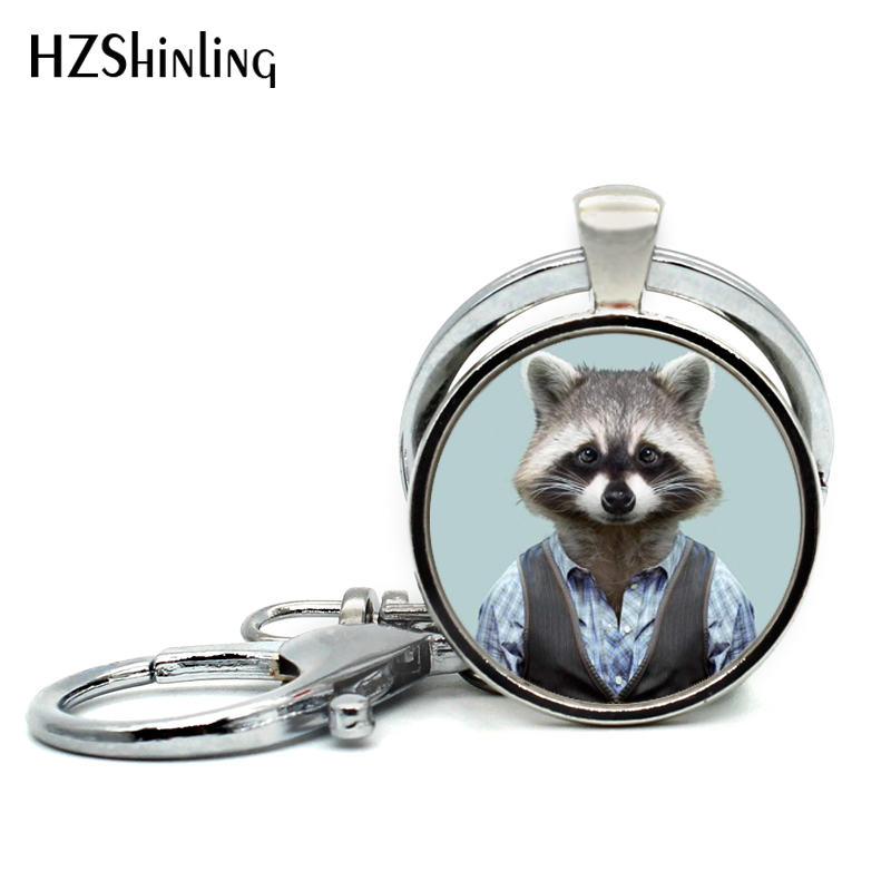 2017 New Arrival Common Raccoon Keychains Raccoon Jewelry Cute Animal Glass Dome Key Ring Wholesale