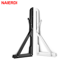 NAIERDI 2PCS Folding Angle Bracket 8-20 Inch Triangle Shelf Heavy Support Adjustable Wall Mounted Bench Table Furniture Hardware 12 inch 300x200mm stainless steel triangle shelf bracket 12 wall mounted heavy bearing support furniture brackets