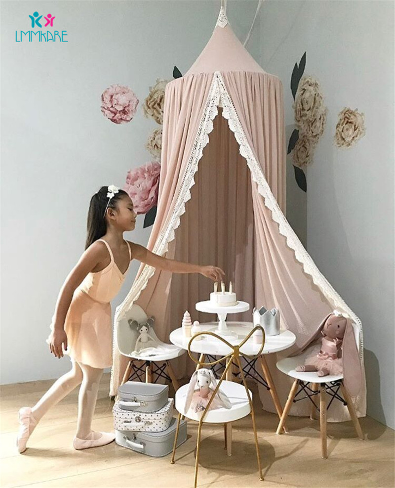 Summer Baby Crib Netting Chiffon Lace Solid Color Bed Tent Cotton Dome Bed Curtain Tent Mosquito Nets Children's Room Decoration