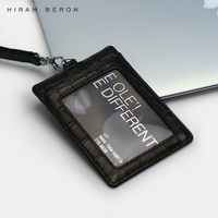 Hiram Beron Custom Name Service Badge ID Card Holder Case for Staff Work with Retractable Lanyard