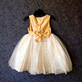 Em torno Do Pescoço Sem Mangas Golden Flower Girl Vestidos Da Princesa Vestidos de Crianças Encantador Brilhante Lantejoula Handmade Flor Cintura