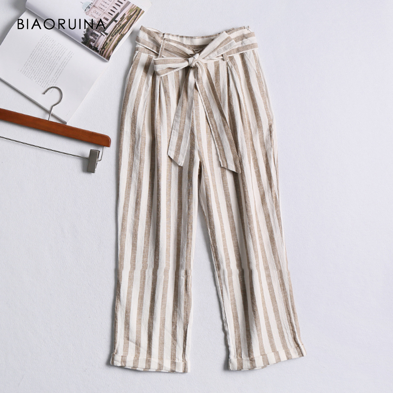 BIAORUINA Women Casual Striped High Waist Ankle Length   Pant   Female Loose   Wide     Leg     Pant   with Sash Women's Fashion Summer   Pant
