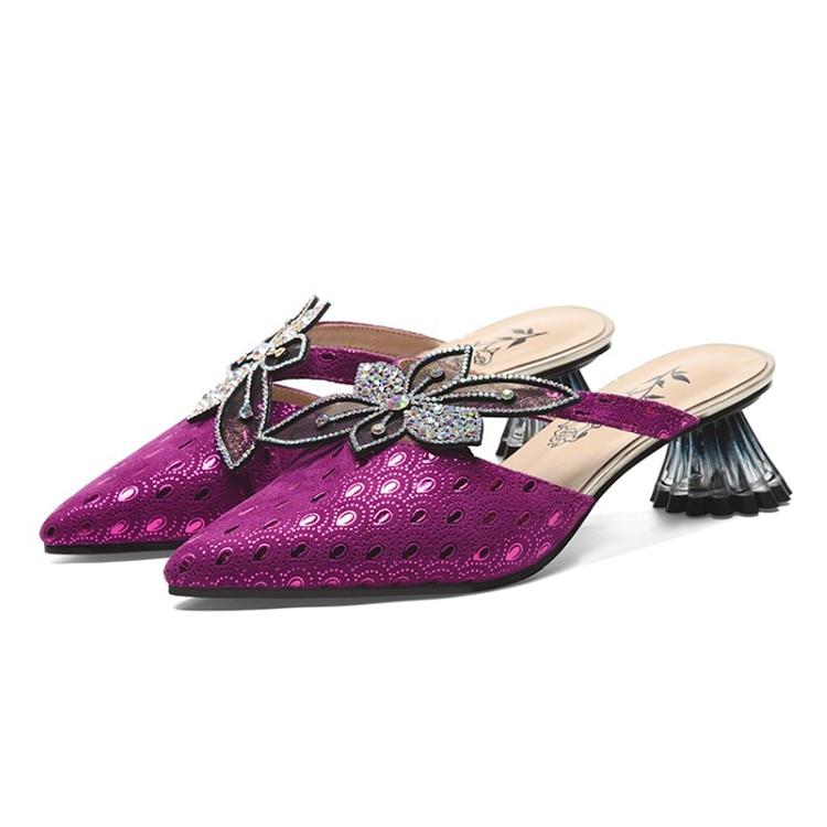 MLJUESE 2019 frauen hausschuhe Schaffell Rom stil spitz lila farbe seltsame ferse strände sandalen partei größe 34 42-in Hausschuhe aus Schuhe bei  Gruppe 3