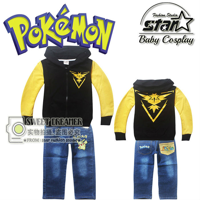 High Quality Printed Cartoon Set Boys Hoodie Cotton Warm Coat Kids Pokemon Go Long-sleeved Hooded Jacket Coat and Jeans Suit худи boys hoodie
