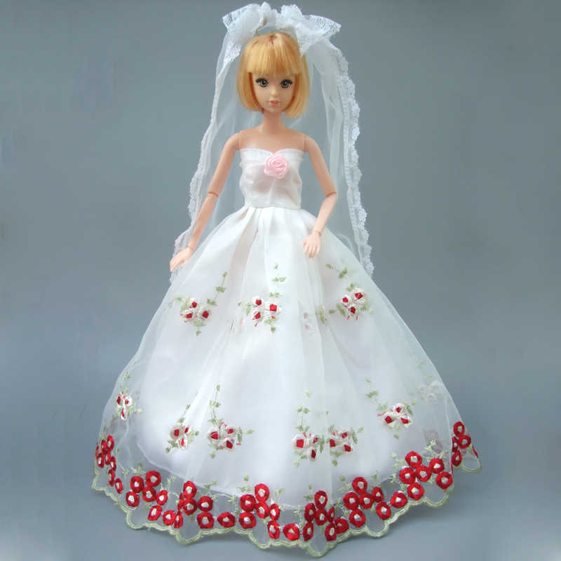 Full All Around Lace Dress For Barbie Doll White Wedding Dress
