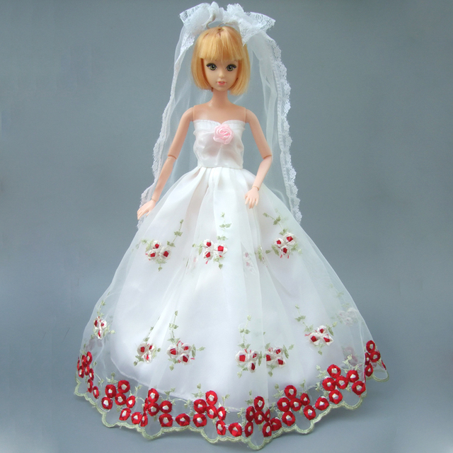 Pełna Całym Koronka Sukienka Dla Lalka Barbie Białej Sukni ślubnej Z