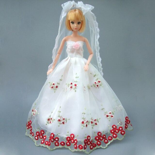Volle ganzen spitzenkleid für barbie puppe weiß hochzeit kleid mit ...