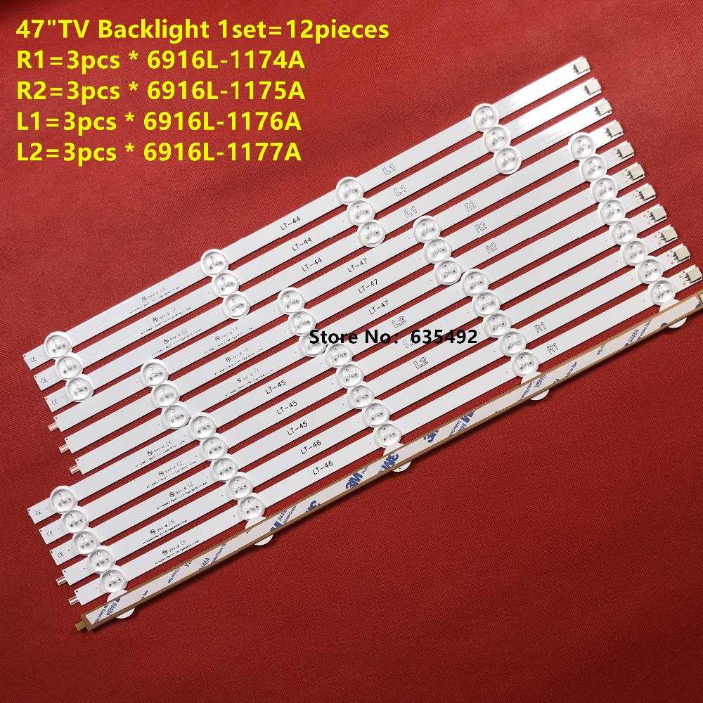 12pieces(R1 R2 L1 L2) FoR LG 47inch 47LA6130 47LN5400 47LA6200-CN Led Backlight 6916L-1174A 6916L-1175A 6916L-1176A 6916L-1177A
