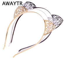 AWAYTR Cute Ears Halloween Head Hair Hoops Headband Trendy Elastic Crystal Crown Cat Ears Hair Accessories For Party Tiara Gift