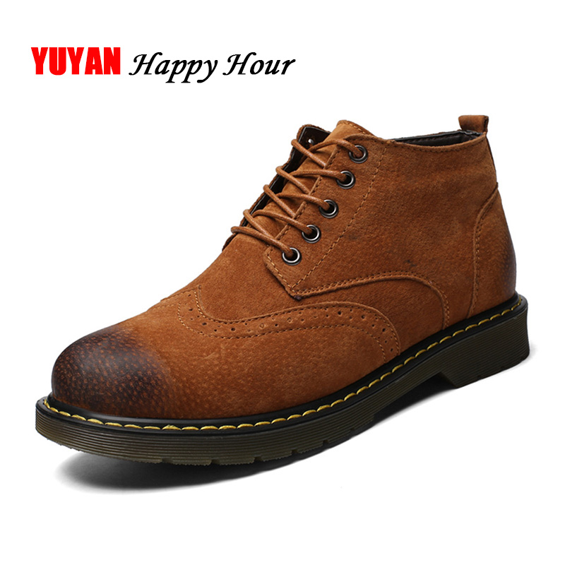 New 2018 Autumn Winter Shoes Men Genuine Leather Casual Shoes High top Hard Outsole Fashion Male Brand Winter Footwear KA166 mulinsen new 2017 autumn winter men