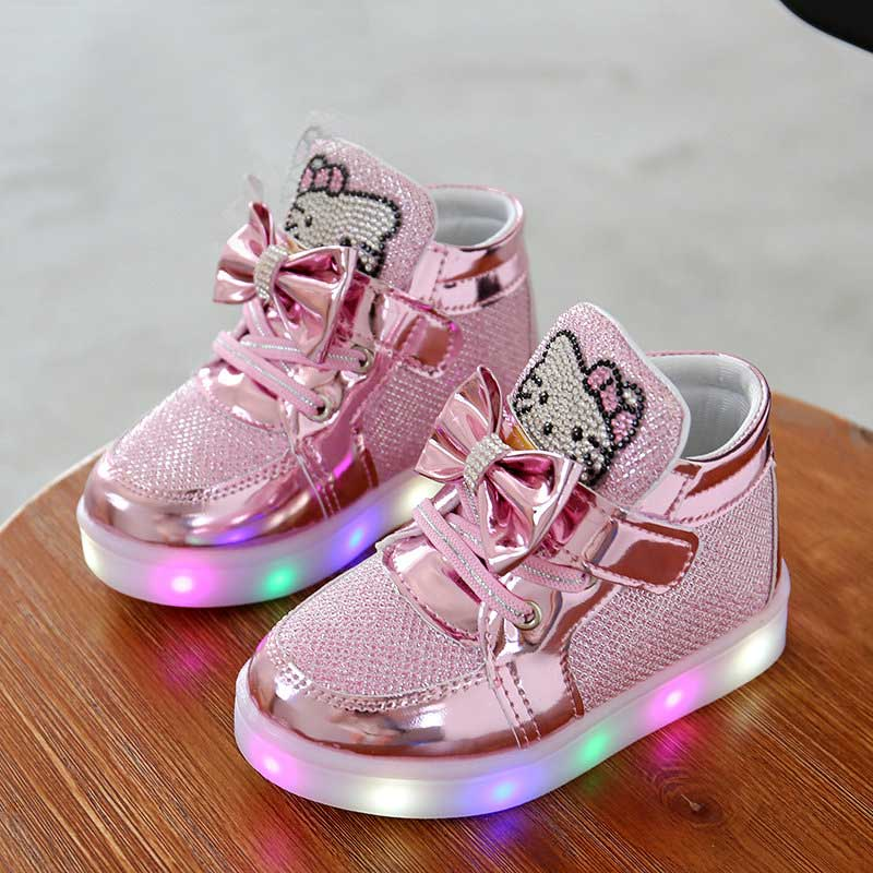 KT Cats Child Luminous Sneakers  New Brand Rhinestone Footwear Kids LED Flashing Boot For Baby Girls Casual Shoes With Light