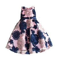 Ribbon Flowers Kids Dresses For Girls Princess Pink Lining Clothes Baby Children Costume For Kids Size