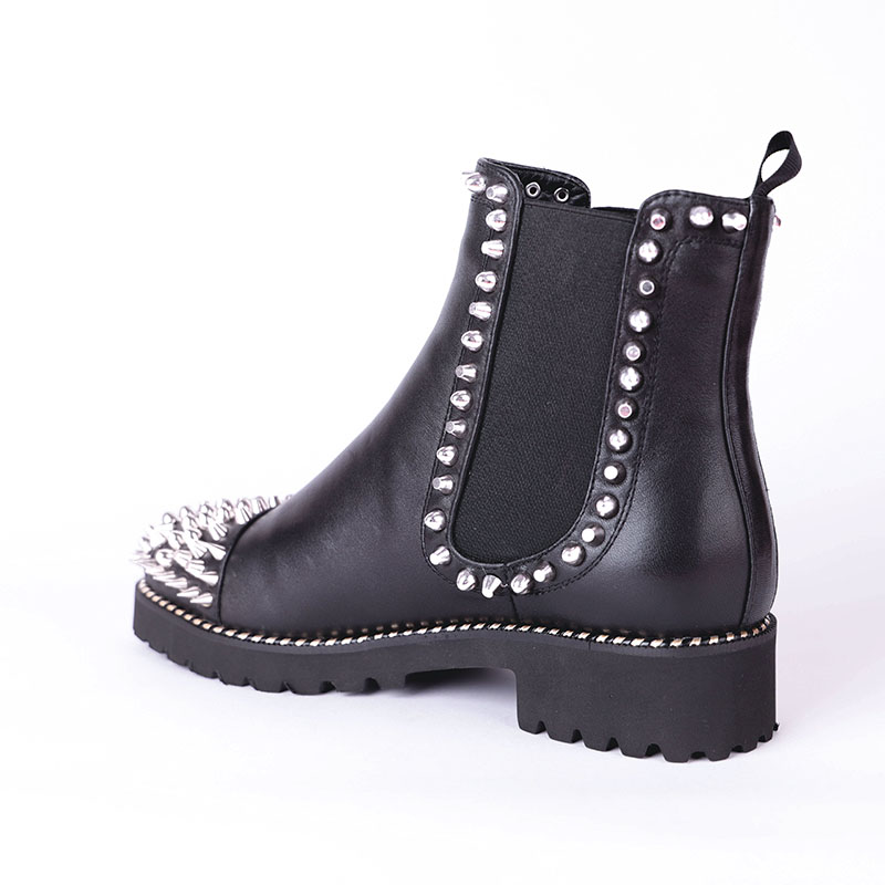 spessi Boot Donna Tacchi Scarpe Donna 2019 Casual pelle Round Black Short Ankle Toe Fashion Women Punk Black Spring Buckles in Plush Wetkiss Boots qFZPZz