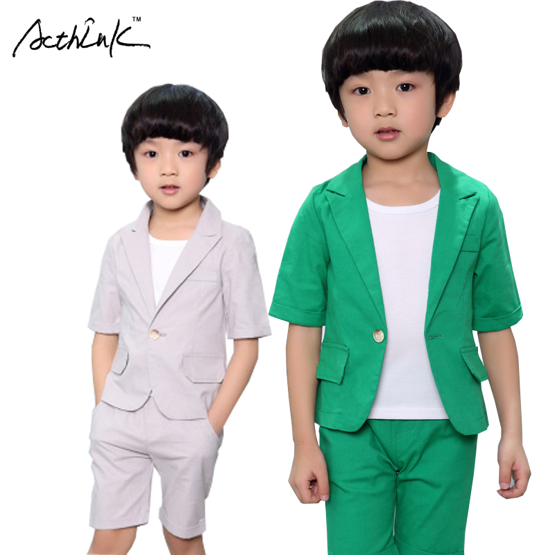 ActhInK New Arrival Summer Boys Solid Formal Wedding Suit Kids England Style Middle Suit Pants Boys Cotton Clothing Set, AC076