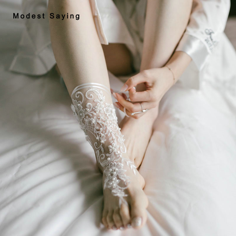 1 Pair Elegant Ivory Pearls Lace Wedding Barefoot Sandals Anklets Shoes With Toe Sandbeach Bridal Beach Bridesmaid Foot Jewelry