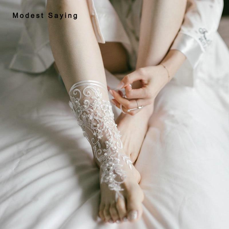 все цены на 1 Pair Elegant Ivory Pearls Lace Wedding Barefoot Sandals Anklets Shoes With Toe Sandbeach Bridal Beach Bridesmaid Foot Jewelry
