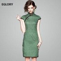 שמלה חדשה 2018 אביב הקיץ לנשים וינטג לוקסוס אקארד כותנה שרוול קצר תחבושת שמלה ירוקה שמלת Qipao אלגנטי XXL